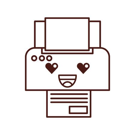 プリンター デバイス紙コピー シート漫画ベクトル図