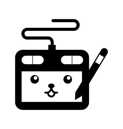 デザイナーのタブレット ペンのデジタル漫画ベクトル図  イラスト・ベクター素材