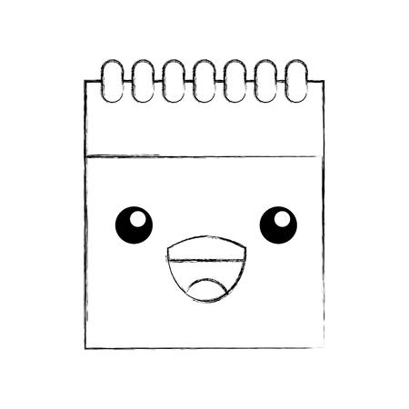 notepad spiral sheet writing cartoon vector illustration Stock Vector - 87732738