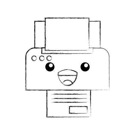 printer apparaat papier exemplaar blad cartoon vectorillustratie