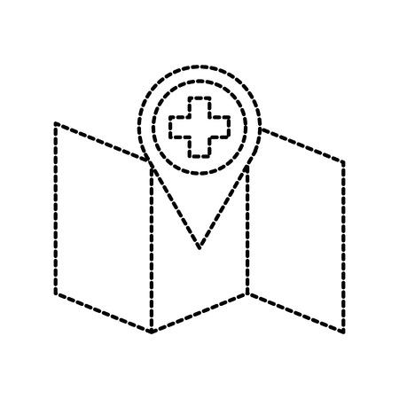 Puntero de la ambulancia del hospital en la ilustración de vector de icono de ubicación de mapa Foto de archivo - 87737850