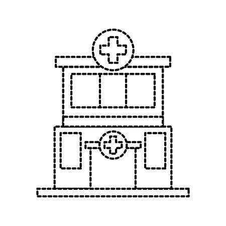 Vorderansichtikonen-Vektorillustration des Krankenhausgebäude-medizinischen Zentrums Standard-Bild - 87737851