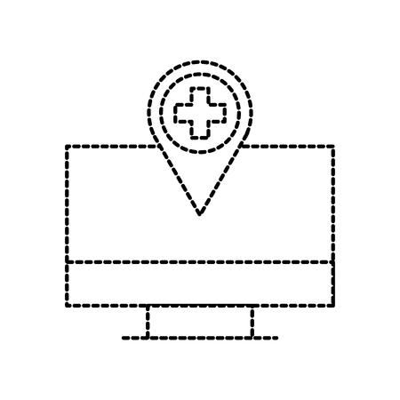 computer monitor with hospital pointer map navigation vector illustration Illustration