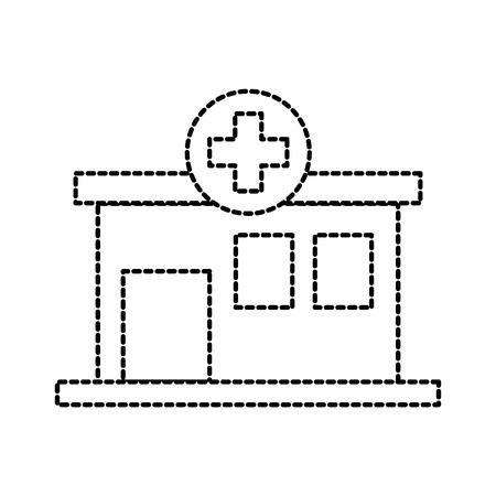 Vorderansichtikonen-Vektorillustration des Krankenhausgebäude-medizinischen Zentrums Standard-Bild - 87731404
