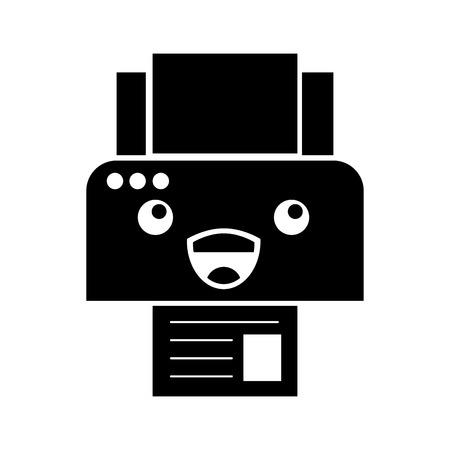 프린터 장치 용지 복사 용지 만화 벡터 일러스트 레이션