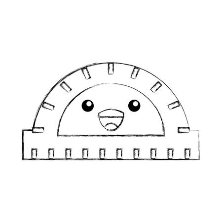 [分度器] 幾何学的な楽器の角度漫画ベクトル図  イラスト・ベクター素材