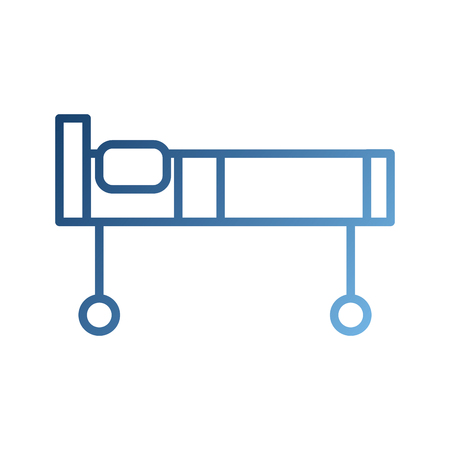 Lit d & # 39 ; hôpital avec oreiller et roues illustration vectorielle Banque d'images - 87732489