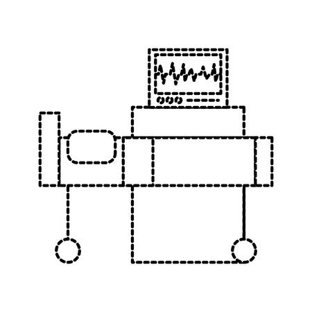 Interior del hospital con el monitor de frecuencia cardíaca cama equipo médico ilustración vectorial Foto de archivo - 87732403