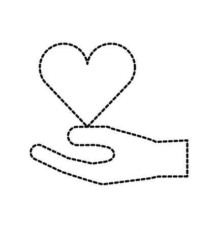 human hand medical heart care support gesture icon vector illustration
