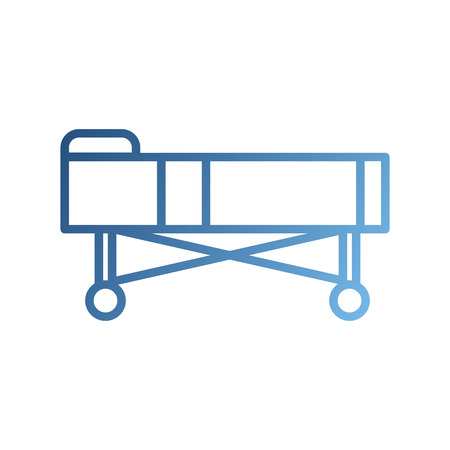 hospital bed with pillow and wheels vector illustration Çizim