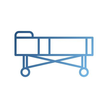 Letto d & # 39 ; ospedale con cuscini e ruote illustrazione vettoriale Archivio Fotografico - 87732423