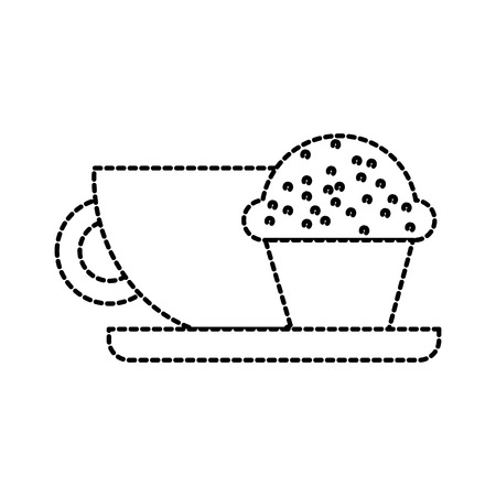 Kaffeetasse und Muffinfrühstücksnahrung vector Illustration Standard-Bild - 87732340