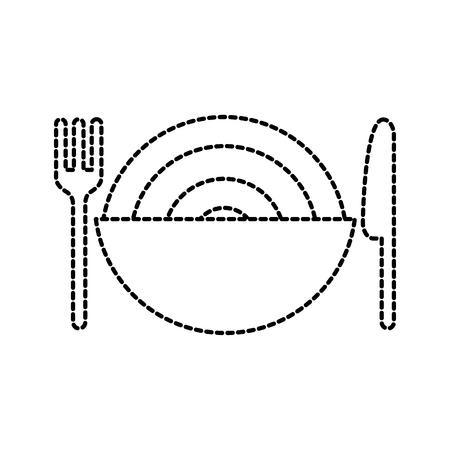 restaurant kom spaghetti en mes vork diner vector illustratie