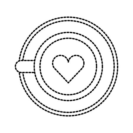 coffee with foam in a shape of a heart top view vector illustration