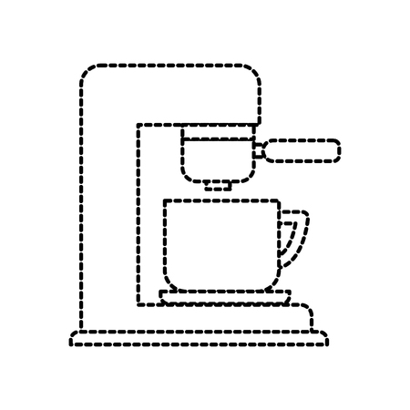 coffee maker with porcelain cup filter machine vector illustration