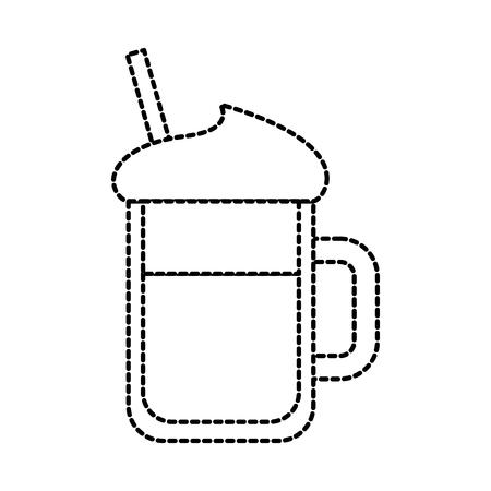 ガラス瓶のベクトル図にホイップ クリーム シロップわらで冷たい飲み物  イラスト・ベクター素材