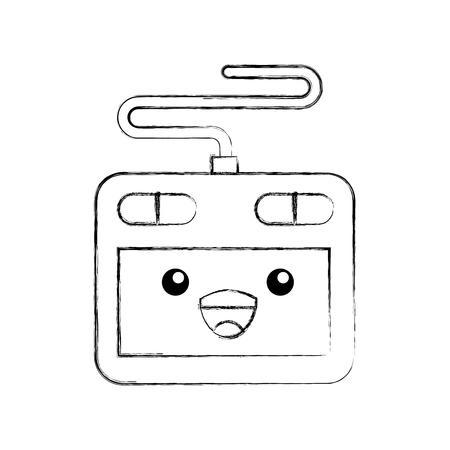 designer tablet digital cartoon vector illustration