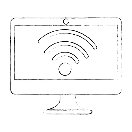 computer display with wifi signal vector illustration design Ilustração