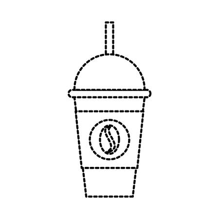 テイクアウトの冷たいフラッペわらドリンク テンプレート ベクトル イラストのコーヒー