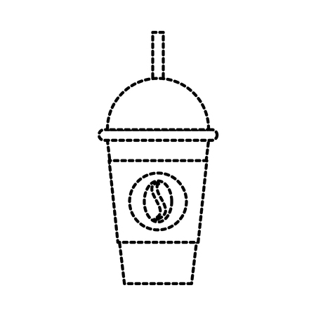 coffee for takeaway cold frappe straw drink template vector illustration