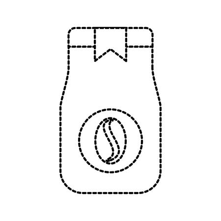 papieren verpakking koffie tas met bonen commerciële markt vectorillustratie