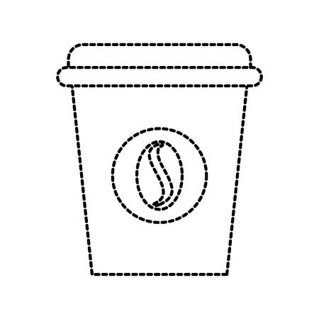 コーヒー豆エンブレム ベクトル図と使い捨てのコーヒー カップのアイコン