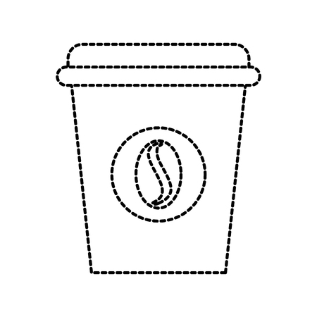 disposable coffee cup icon with coffee beans emblem vector illustration