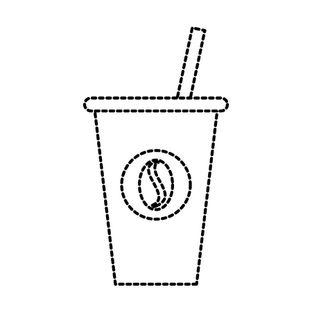 disposable coffee cup with straw and bean emblem icon vector illustration Illustration