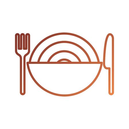 Illustrazione di vettore di cena cena di spaghetti e coltello ciotola del ristorante Archivio Fotografico - 87737574