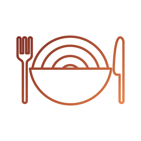 restaurant bowl spaghetti and knife fork dinner vector illustration 向量圖像
