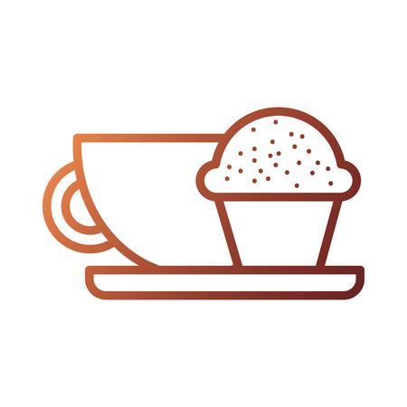 Kaffeetasse und Muffin Frühstück Essen Vektor-Illustration Standard-Bild - 87737577