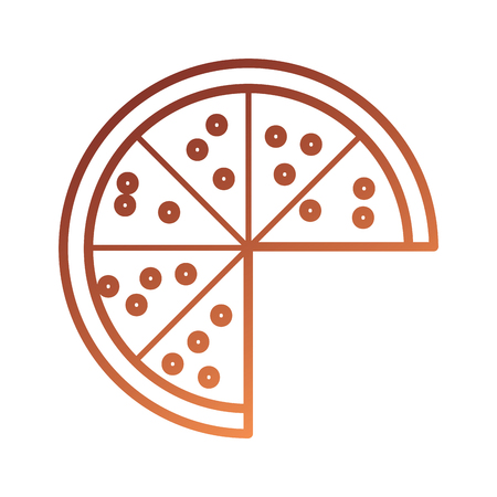fast food pizza with cheese pepperoni tasty vector illustration Ilustração