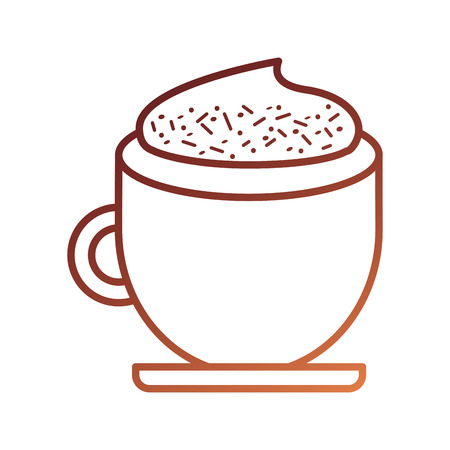 coffee cup cream cinnamon beverage fresh vector illustration