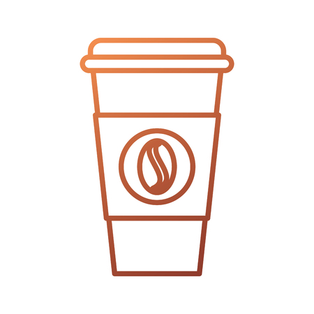 disposable coffee cup take away with bean symbol icon vector illustration