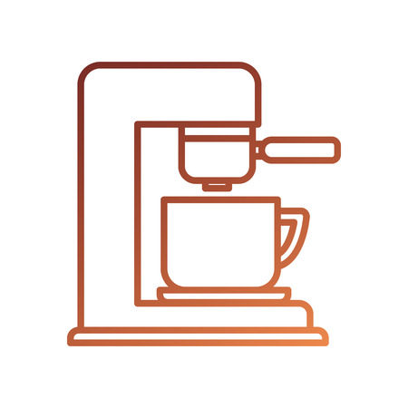 coffee maker with porcelain cup machine appliance kitchen vector illustration