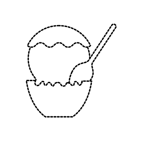 ice cream in paper cup with spoon snack sweet vector illustration