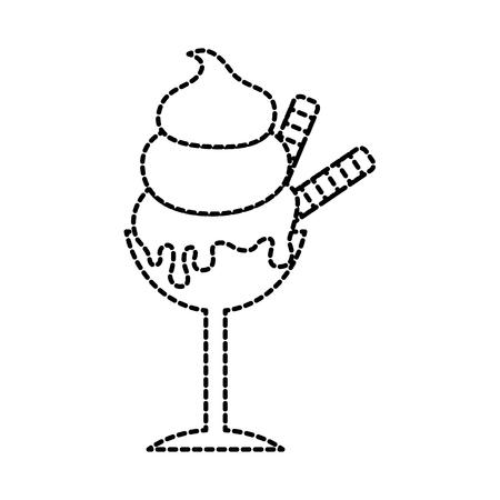 tasty ice cream in glass dessert delicious vector illustration