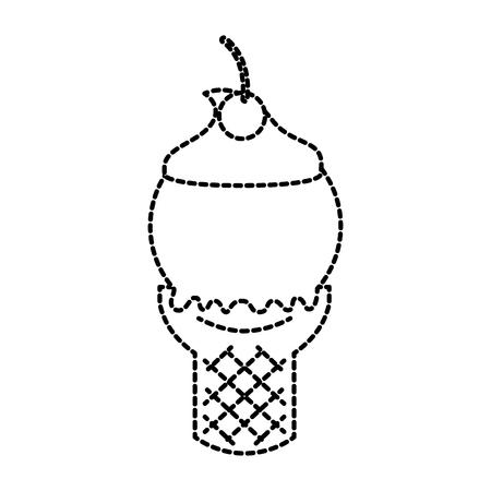 ice cream in waffle cone fresh cream vector illustration