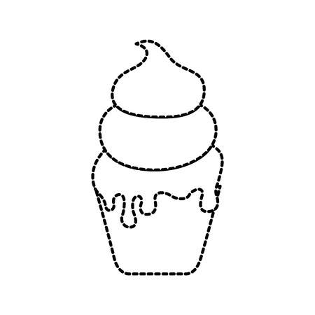 ice cream in paper cup snack sweet vector illustration Çizim