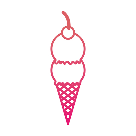 ice cream sundae dessert delicious cold vector illustration Illustration