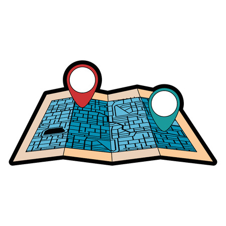 paper map with pointer location isolated icon vector illustration design