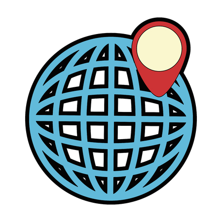 planet with pointer location vector illustration design
