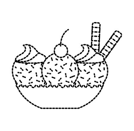 ijsglaswerk met drie ballen en bessen vectorillustratie