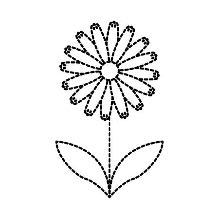 Plante fleur mignonne avec des pétales et des feuilles icône vecteur illustraction Banque d'images - 87737007