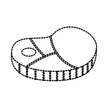 vers stuk rauwe biefstuk vlees pictogram vectorillustratie Stock Illustratie