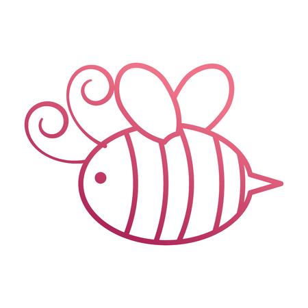 귀여운 벌 꿀 비행 곤충 동물 벡터 일러스트 레이션 일러스트