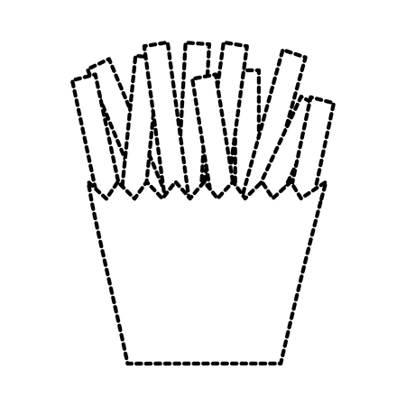 fast food french fries in box carton vector illustration Illustration