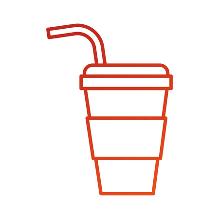disposable paper cup soda with straw cap cold vector illustration