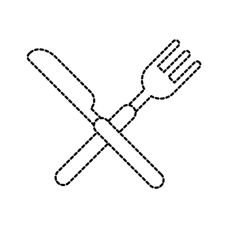 crossed fork and knife cutlery silverware kitchen restaurant vector illustration 向量圖像
