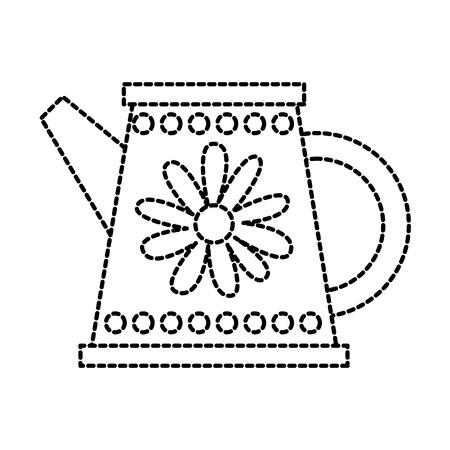 tuinieren water kan met bloem decoratie handvat vectorillustratie Stock Illustratie